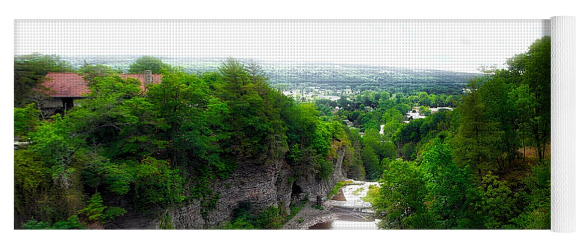 Cornell University Yoga Mat featuring the photograph Cascadilla Gorge Cornell University Ithaca New York Panorama by Thomas Woolworth
