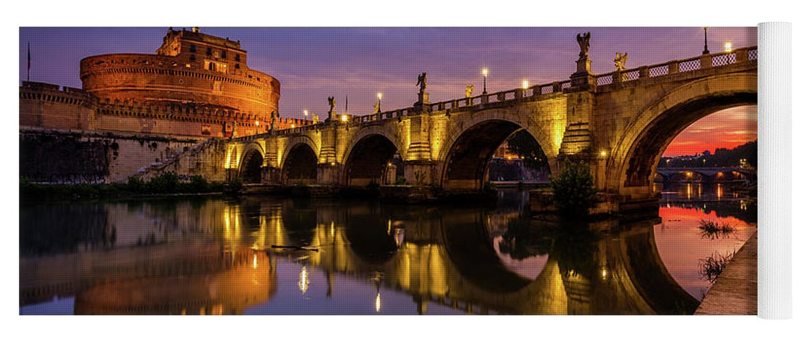 Castel Sant'angelo Yoga Mat featuring the photograph Castel Sant Angelo And The Tiber by Inge Johnsson