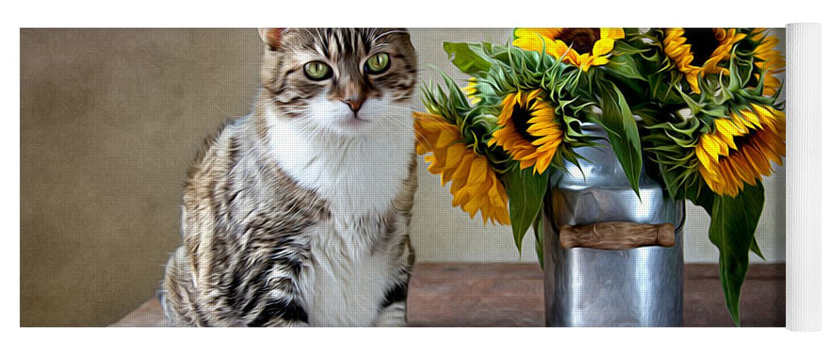 Cat Yoga Mat featuring the painting Cat and Sunflowers by Nailia Schwarz