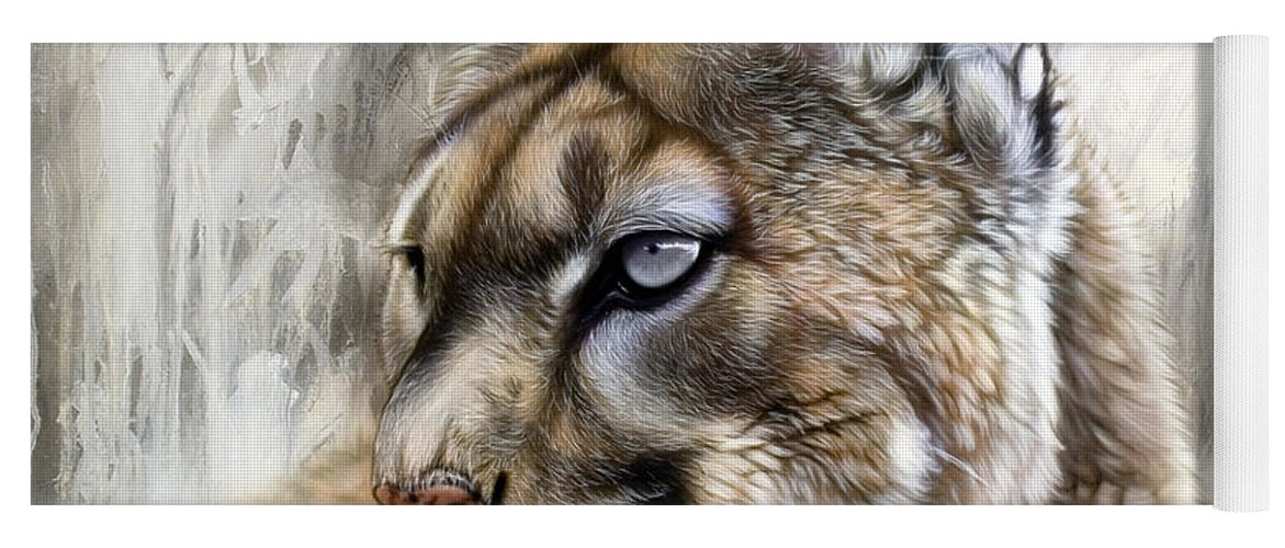 Acrylic Yoga Mat featuring the painting Catamount by Sandi Baker