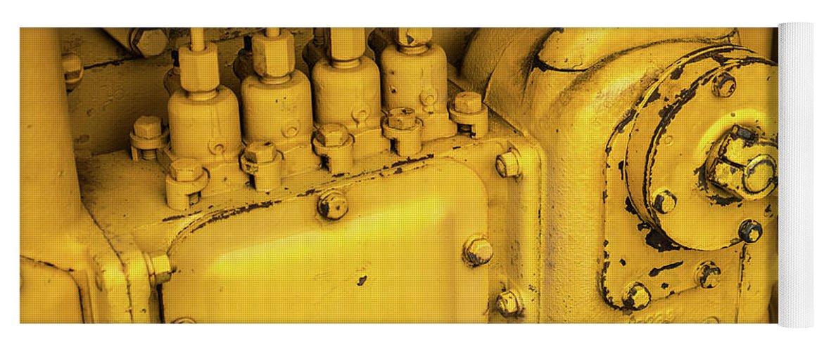 Yellow Yoga Mat featuring the photograph Caterpillar D2 Bulldozer 06 by Rick Piper Photography