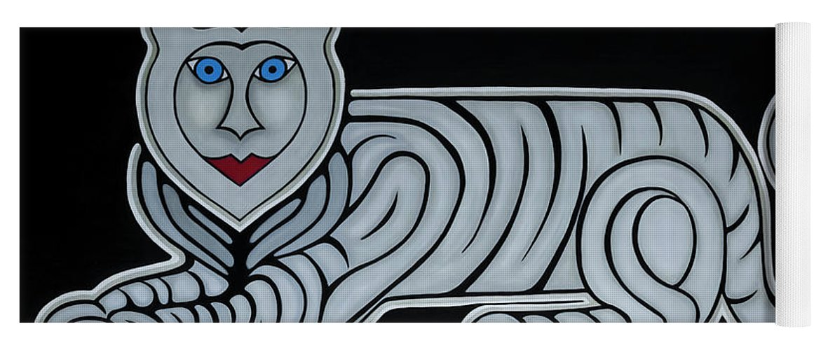 Celestial Yoga Mat featuring the painting Celestial big white tiger woman by Adamantini Feng shui