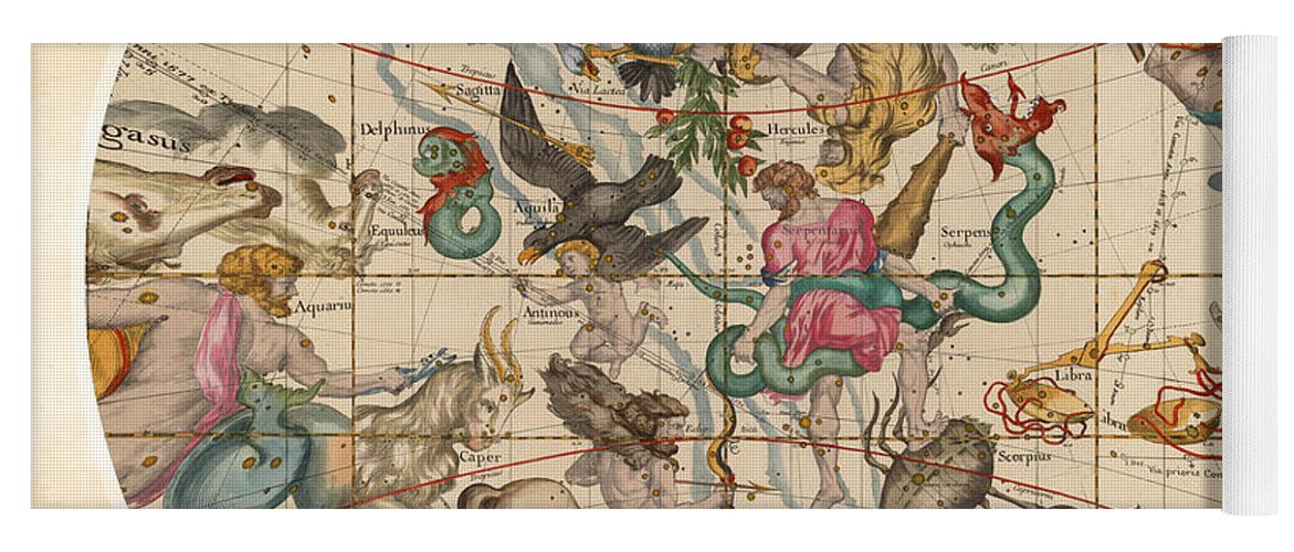 Celestial Map - Constellations - Sagittarius, Capricorn, Scorpio, Hercules  - Ilustrated Map Of Sky Yoga Mat