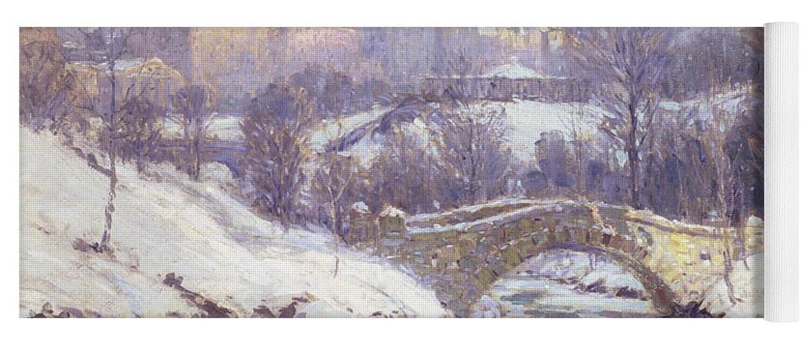 Winter Yoga Mat featuring the painting Central Park by Colin Campbell Cooper