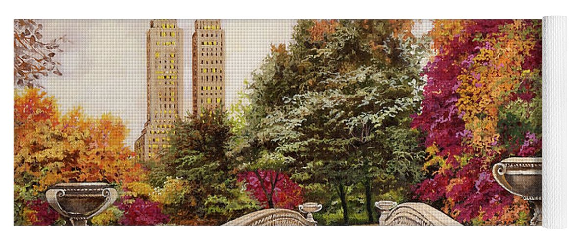 New York Yoga Mat featuring the painting Central Park by Guido Borelli