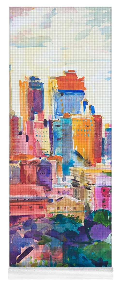 Central Park Yoga Mat featuring the painting Central Park West by Peter Graham