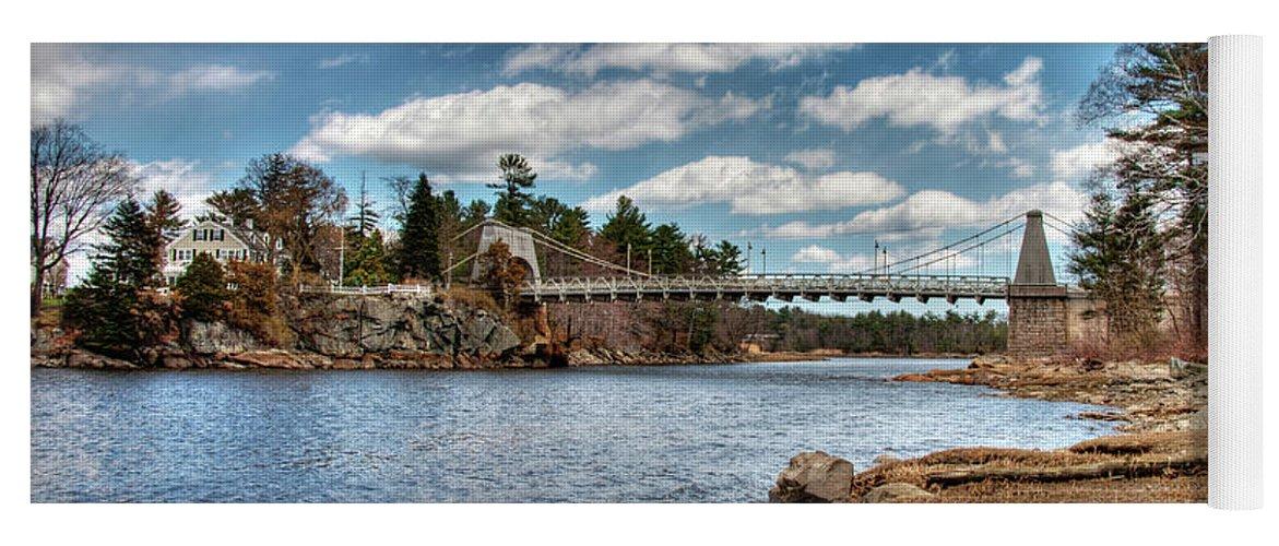 Newburyport Amesbury Massachusetts Chain Bridge Deer Island Merrimack River New England Spofford House Yoga Mat featuring the photograph Chain Bridge On The Merrimack by Wayne Marshall Chase