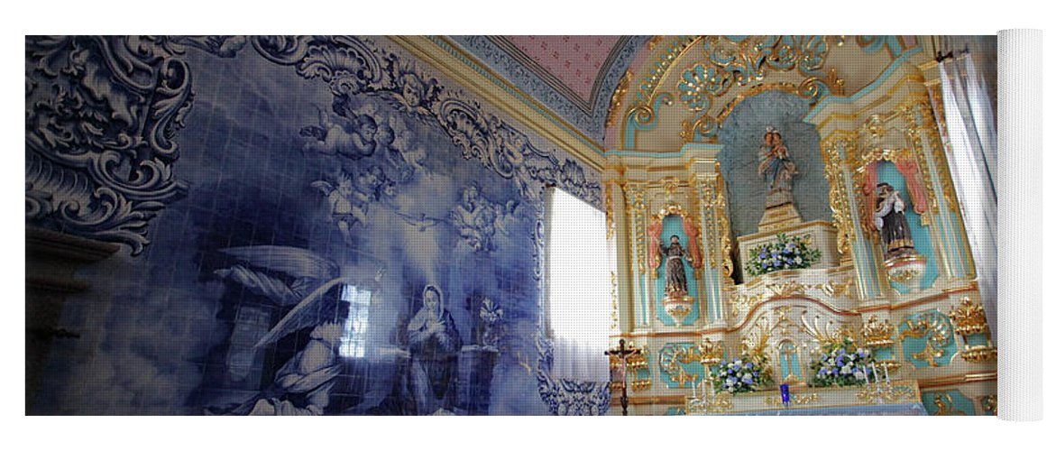 Fenais Da Ajuda Yoga Mat featuring the photograph Chapel In Azores Islands by Gaspar Avila