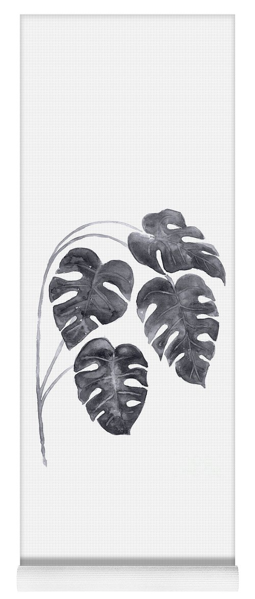 Monstera Leaves Yoga Mat featuring the painting Charcoal Monstera Leaves Watercolor by Joanna Szmerdt