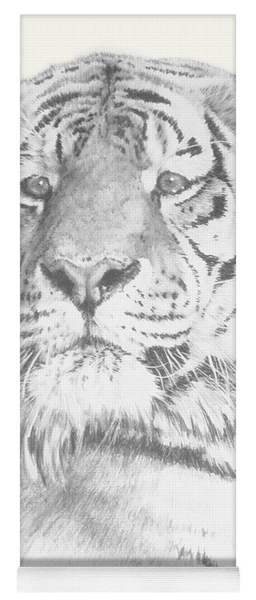 Tiger Yoga Mat featuring the mixed media Charisma by Barbara Keith