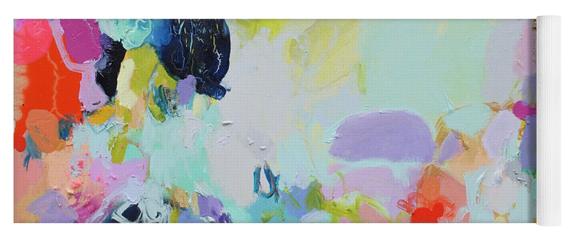 Abstract Yoga Mat featuring the painting Chartreuse Stop by Claire Desjardins
