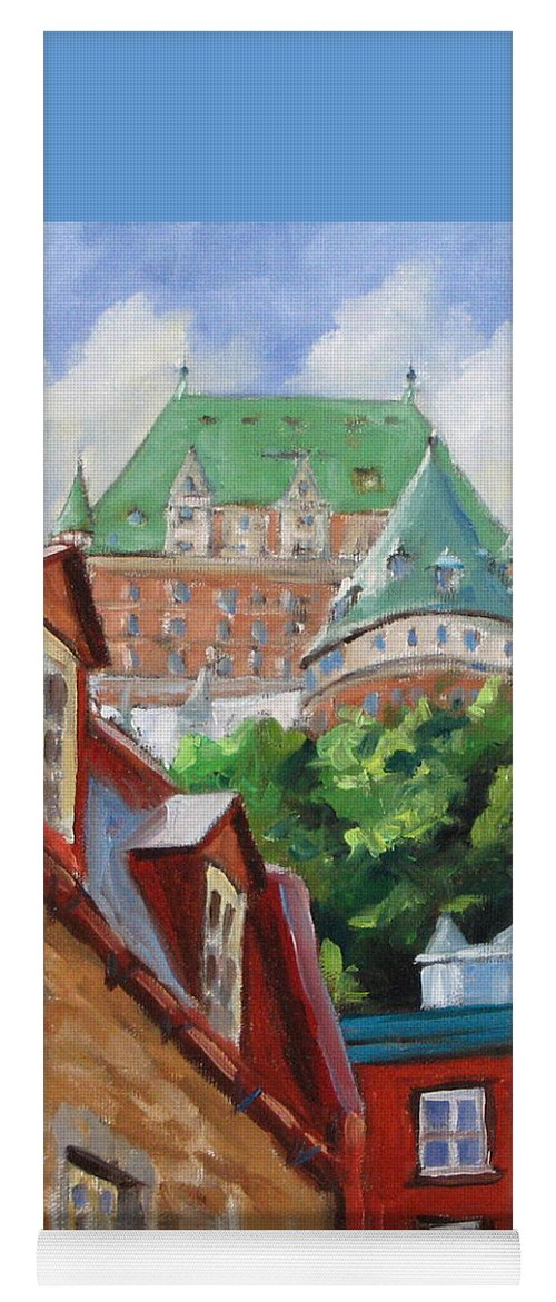 Chateau Frontenac Yoga Mat featuring the painting Chateau Frontenac by Richard T Pranke