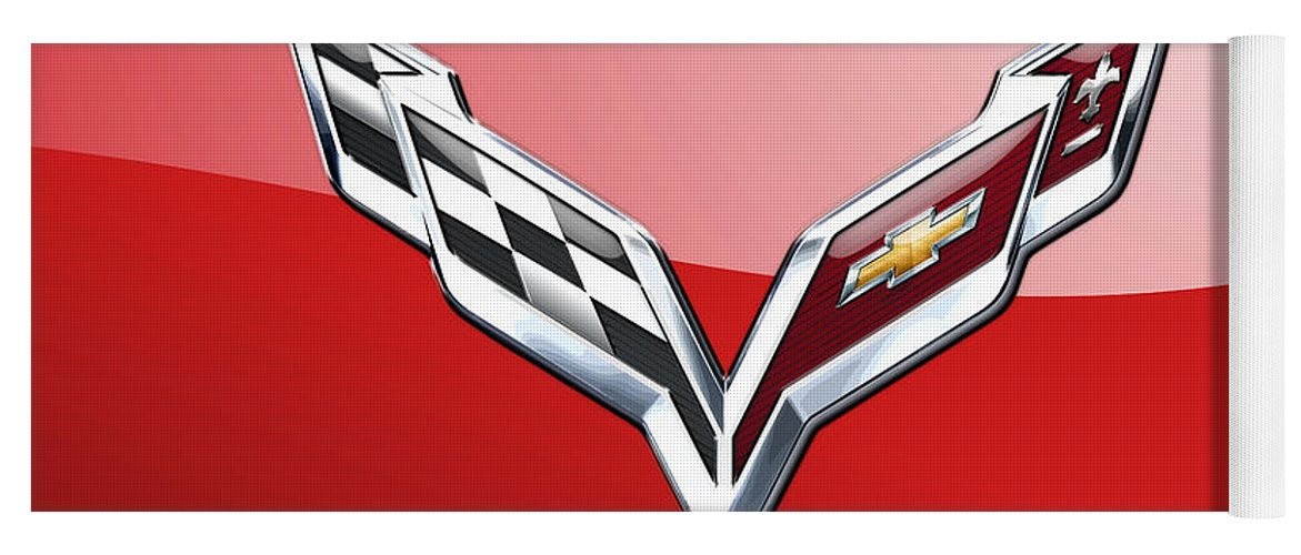 'wheels Of Fortune' Collection By Serge Averbukh Yoga Mat featuring the photograph Chevrolet Corvette - 3d Badge On Red by Serge Averbukh