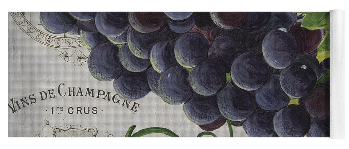 Grapes Yoga Mat featuring the painting Vins de Champagne 2 by Debbie DeWitt