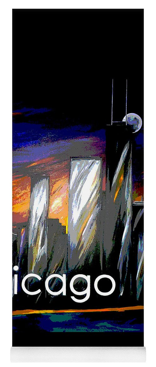 Chicago Yoga Mat featuring the painting Chicago Night Skyline by Jean Habeck