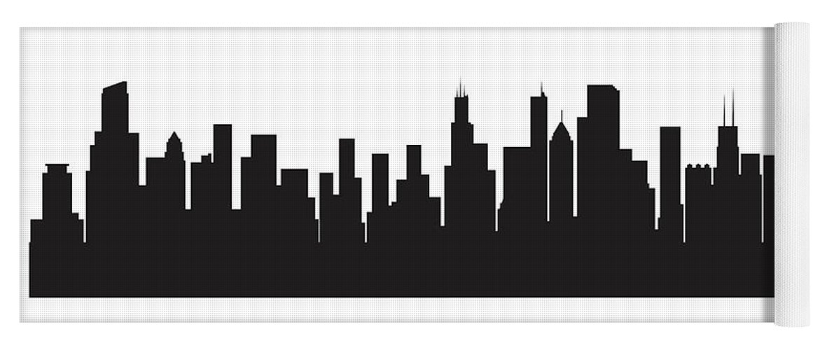 chicago skyline silhouette yoga mat for sale by anna maloverjan