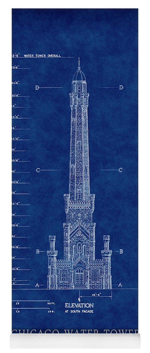 Chicago water tower blueprint yoga mat for sale by daniel hagerman chicago yoga mat featuring the digital art chicago water tower blueprint by daniel hagerman malvernweather Gallery