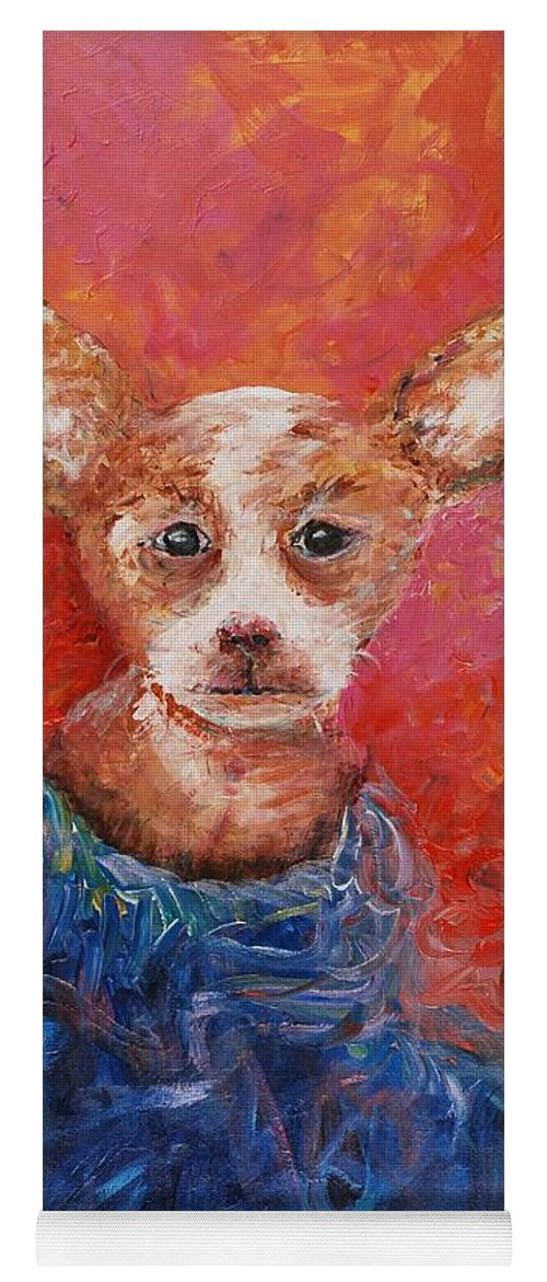 Dog Yoga Mat featuring the painting Chihuahua Blues by Nadine Rippelmeyer
