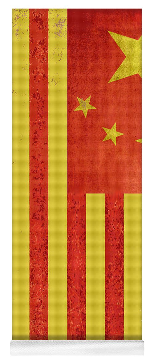 chinese american flag vertical yoga mat for sale by tony rubino