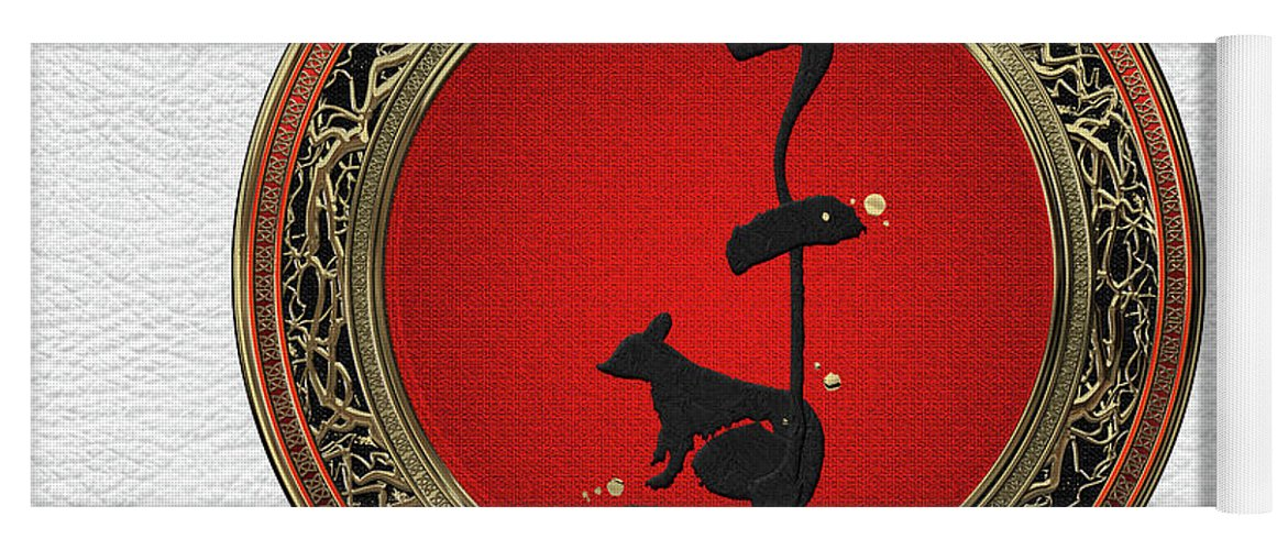 'zodiac' Collection By Serge Averbukh Yoga Mat featuring the digital art Chinese Zodiac - Year Of The Rat On White Leather by Serge Averbukh