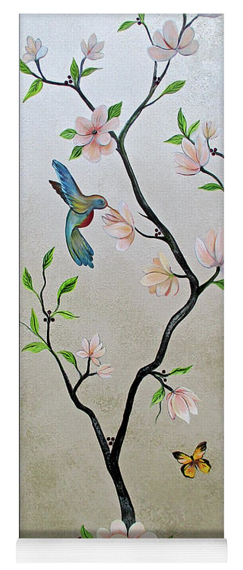 Peacock Peacocks Bird Birds Pattern Patterns Flowers Pink Green Leaf Leafy Leaves Vine Vines Ivy Plant Plants Fabric Fabrics Design Chinoiserie Panels Groupings Pheasant Flower Magnolia Golden Pheasant Butterfly Transitional Cardinal Red Bird Blue Bird Jay Peach Green Humming Bird And Blue Jay Yoga Mat featuring the painting Chinoiserie - Magnolias And Birds #5 by Shadia Derbyshire