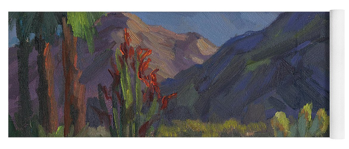 Cholla Cactus Yoga Mat featuring the painting Cholla At Smoketree Ranch by Diane McClary