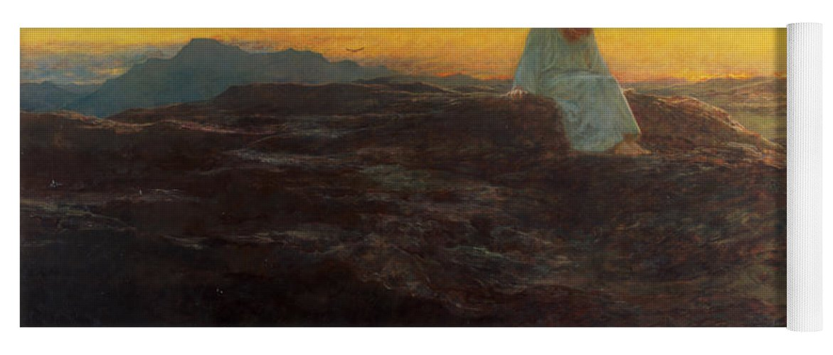 Christ In The Wilderness Yoga Mat featuring the painting Christ In The Wilderness by Briton Riviere