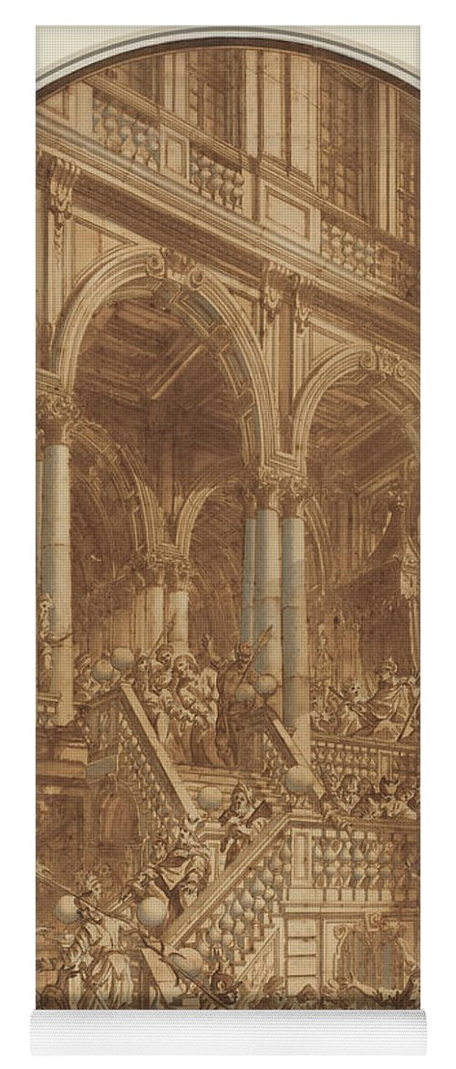 Yoga Mat featuring the drawing Christ Led Captive From A Palace by Giuseppe Galli Bibiena
