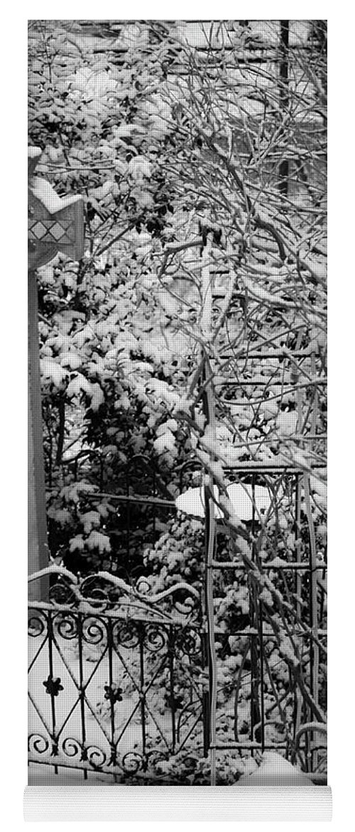 Christmas Yoga Mat featuring the photograph Christmas Snow in the Garden by Teresa Mucha