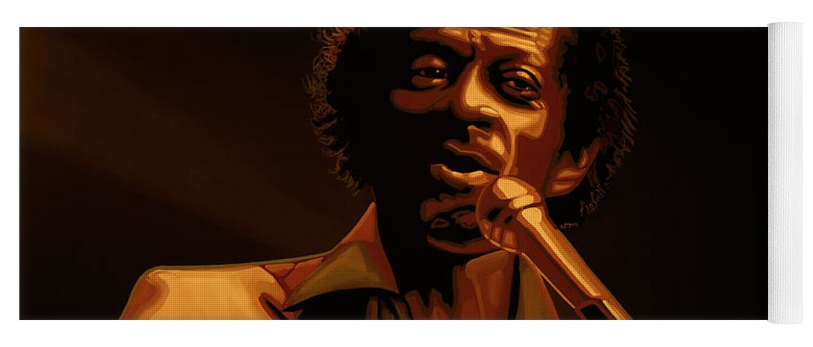 Chuck Berry Yoga Mat featuring the mixed media Chuck Berry Gold by Paul Meijering
