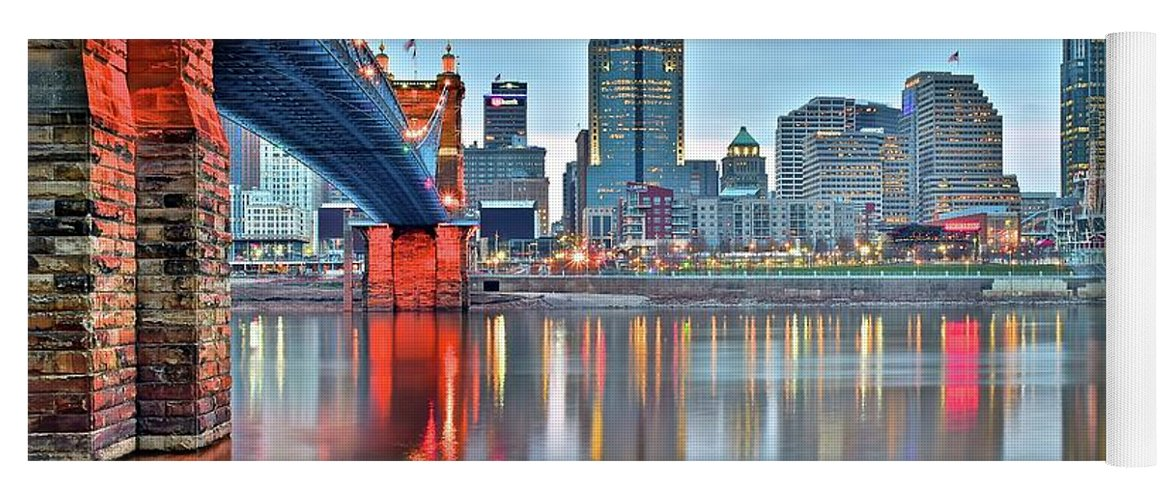 Cincinnati Yoga Mat featuring the photograph Cincinnati At Ground Level by Frozen in Time Fine Art Photography