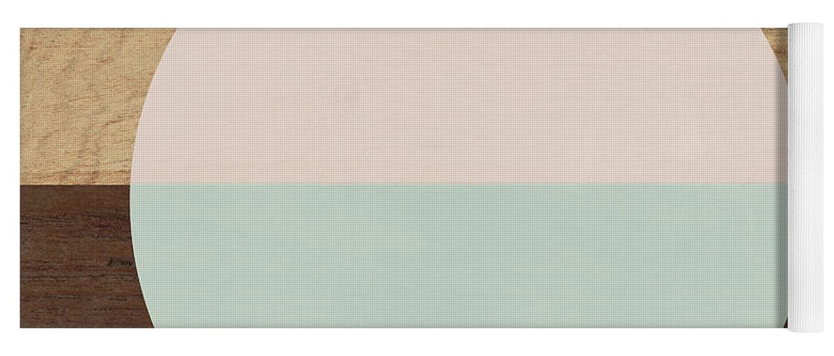 Modern Yoga Mat featuring the mixed media Cirkel in Peach and Mint- Art by Linda Woods by Linda Woods