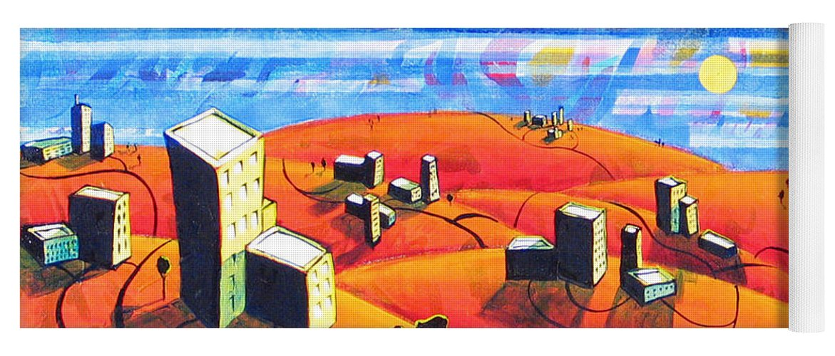 Landscape From Above Yoga Mat featuring the painting Cities And Towns by Rollin Kocsis