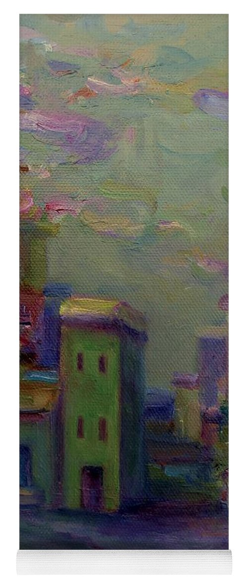 Cityscape Yoga Mat featuring the painting City Of Color And Light by Mary Wolf