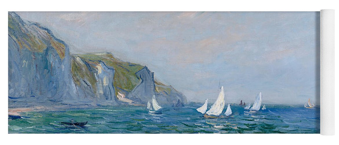 Cliffs And Sailboats At Pourville Yoga Mat For Sale By