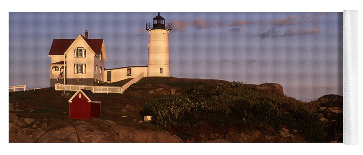 Landscape New England Lighthouse Nautical Coast Yoga Mat featuring the photograph Cnrf0908 by Henry Butz