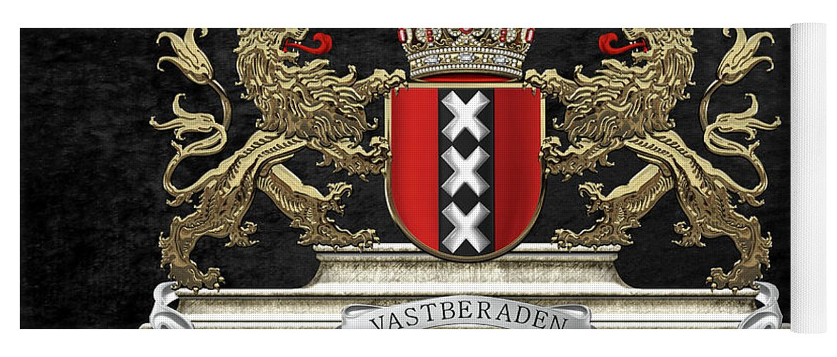 'cities Of The World' Collection By Serge Averbukh Yoga Mat featuring the digital art Coat Of Arms Of Amsterdam Over Black Velvet by Serge Averbukh
