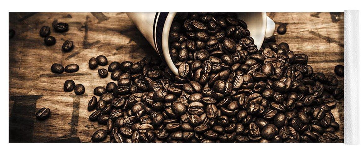Bean Yoga Mat featuring the photograph Coffee Bar Advertisement by Jorgo Photography - Wall Art Gallery