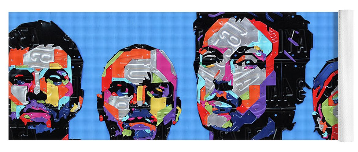 Coldplay Yoga Mat featuring the mixed media Coldplay Band Portrait Recycled License Plates Art On Blue Wood by Design Turnpike