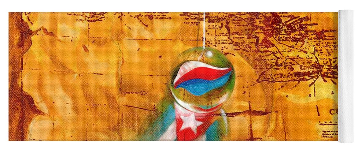 Marble Hanging By A String Yoga Mat featuring the painting Colgando En Un Hilito by Roger Calle
