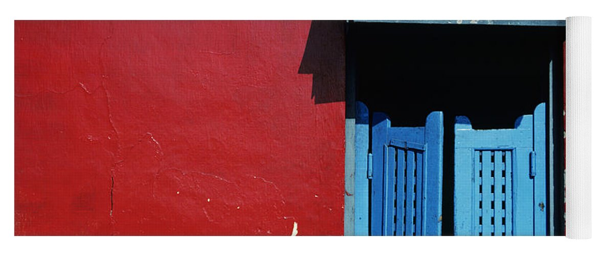 Architecture Yoga Mat featuring the photograph Colorful Caribbean Door by Larry Dale Gordon - Printscapes