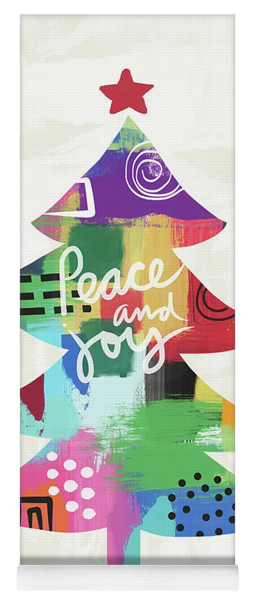 Christmas Yoga Mat featuring the painting Colorful Christmas Tree- Art by Linda Woods by Linda Woods