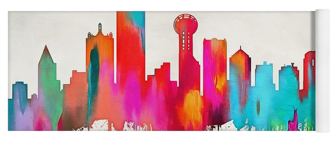 colorful dallas skyline silhouette yoga mat for sale by dan sproul