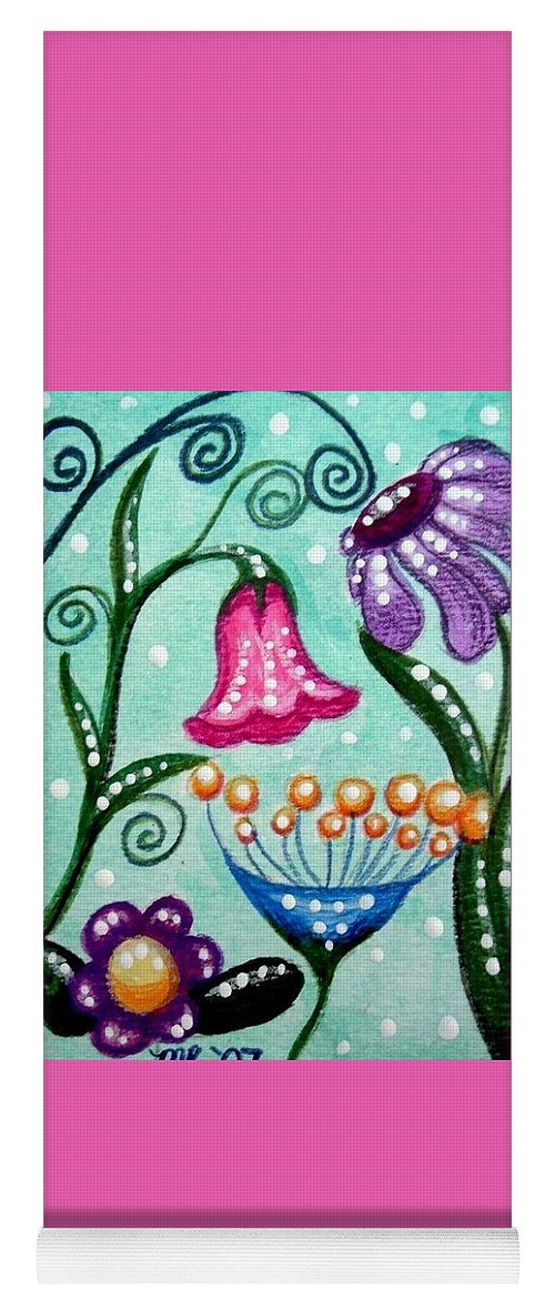 Floral Yoga Mat featuring the painting Colorful Flowers by Monica Resinger