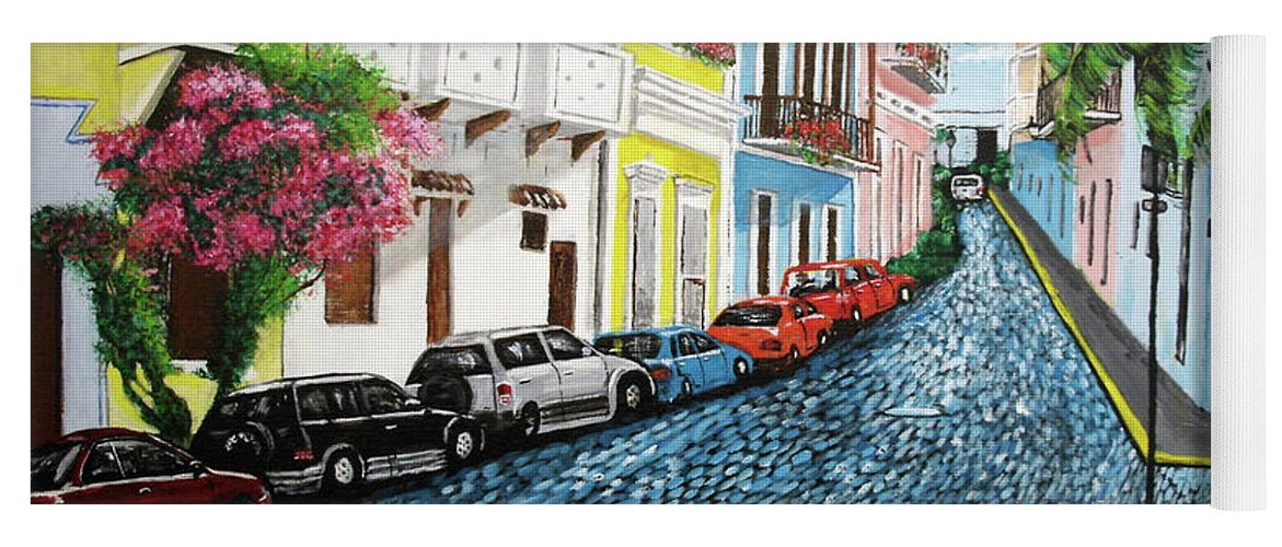 Old San Juan Yoga Mat featuring the painting Colorful Old San Juan by Luis F Rodriguez