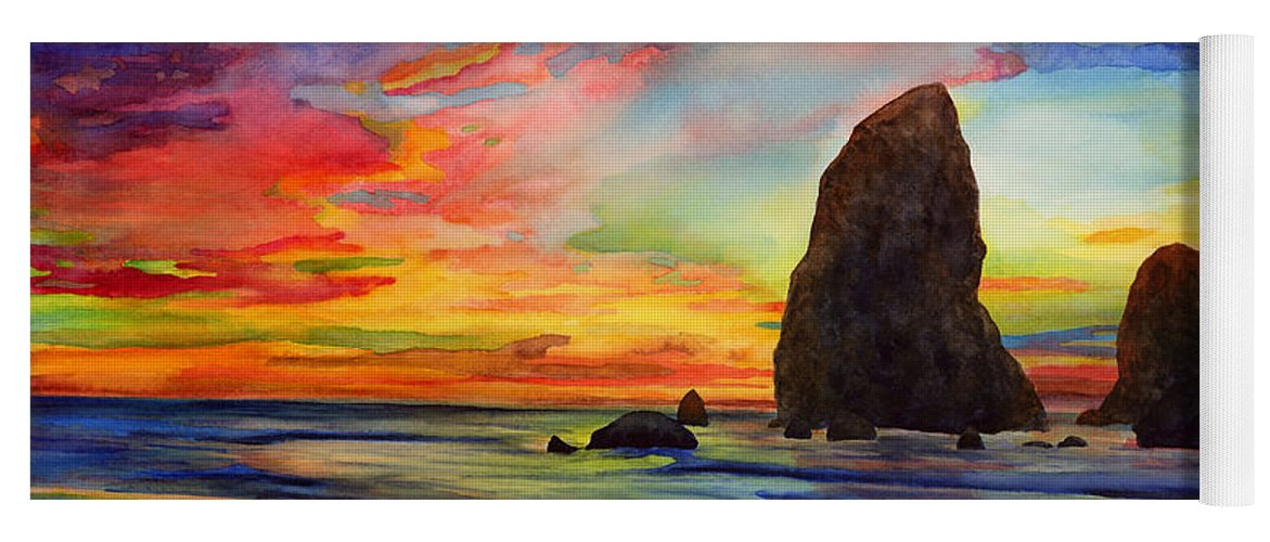 Sunset Yoga Mat featuring the painting Colorful Solitude by Hailey E Herrera