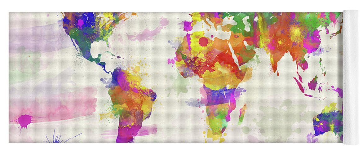 Colorful watercolor world map yoga mat for sale by zaira dzhaubaeva map yoga mat featuring the digital art colorful watercolor world map by zaira dzhaubaeva gumiabroncs Gallery
