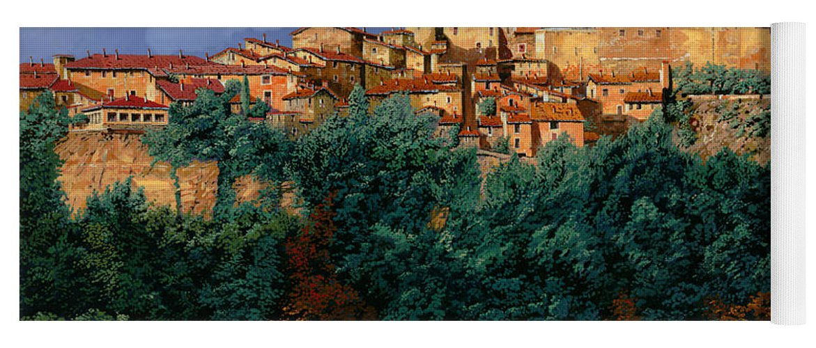 Provence Yoga Mat featuring the painting colori di Provenza by Guido Borelli