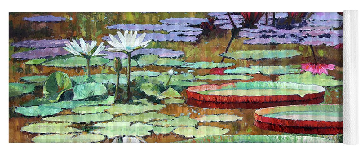 Garden Pond Yoga Mat featuring the painting Colors on the Lily Pond by John Lautermilch