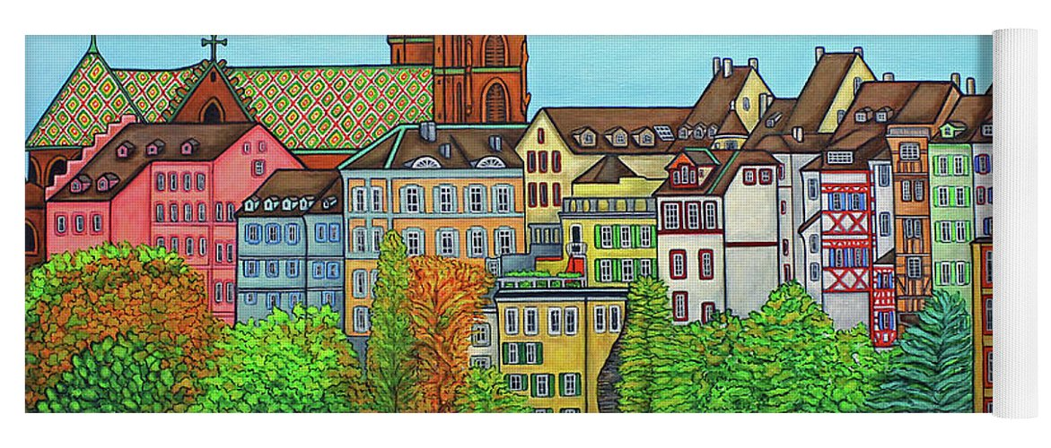 Lisa Lorenz Yoga Mat featuring the painting Basel, Colours of Basel by Lisa Lorenz